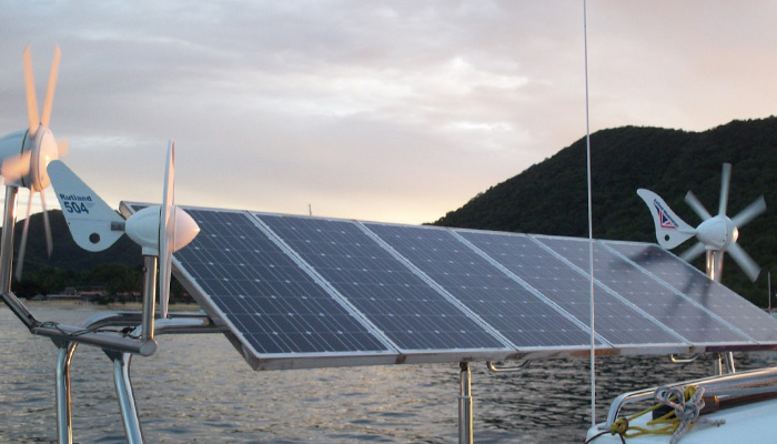 Renewable energy from solar panels and wind turbines